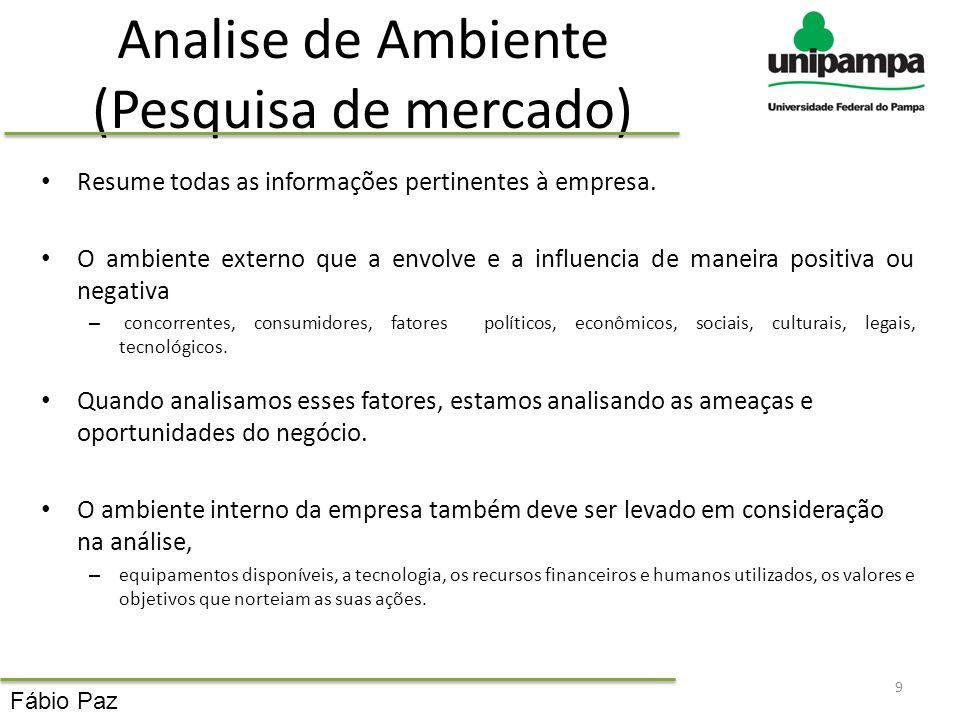 Analise de Ambiente (Pesquisa de mercado) Resume todas as informações pertinentes à empresa. O ambiente externo que a envolve e a influencia de maneir