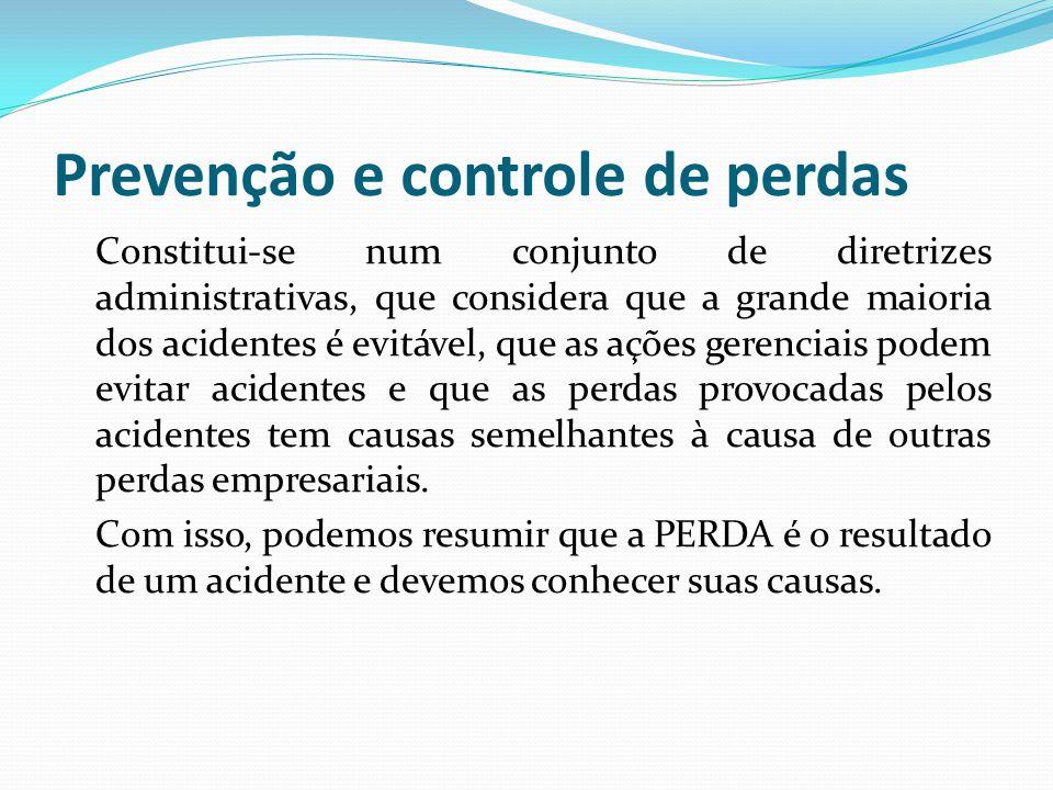 Prevenção e controle de perdas Constitui-se num conjunto de diretrizes administrativas, que considera que a grande maioria dos acidentes é evitável, q