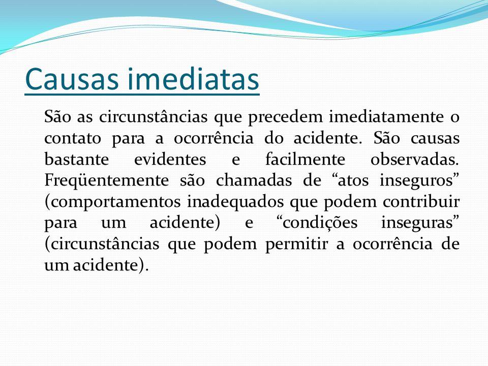 Causas imediatas São as circunstâncias que precedem imediatamente o contato para a ocorrência do acidente. São causas bastante evidentes e facilmente