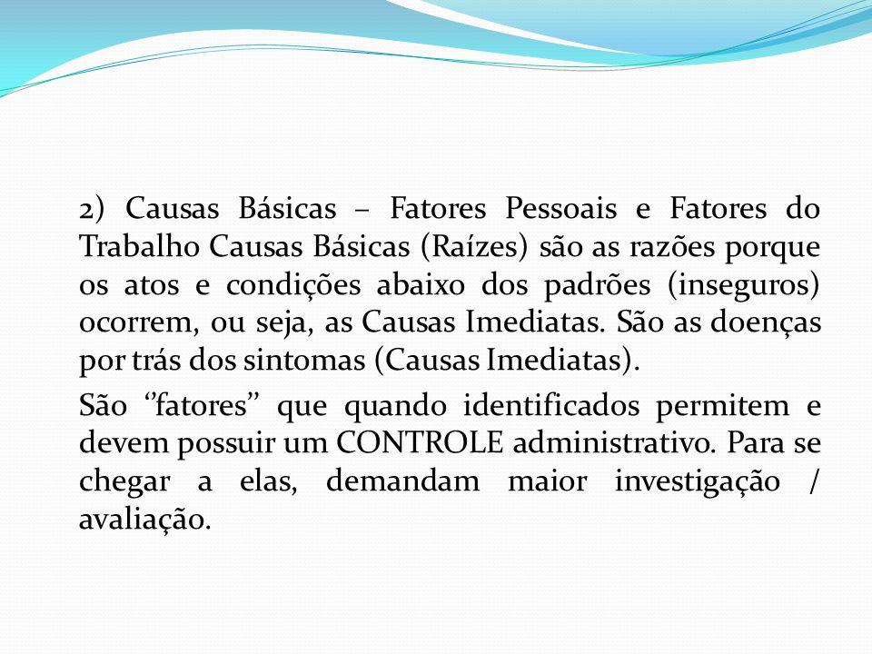 2) Causas Básicas – Fatores Pessoais e Fatores do Trabalho Causas Básicas (Raízes) são as razões porque os atos e condições abaixo dos padrões (insegu