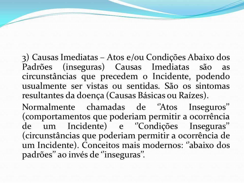 3) Causas Imediatas – Atos e/ou Condições Abaixo dos Padrões (inseguras) Causas Imediatas são as circunstâncias que precedem o Incidente, podendo usua