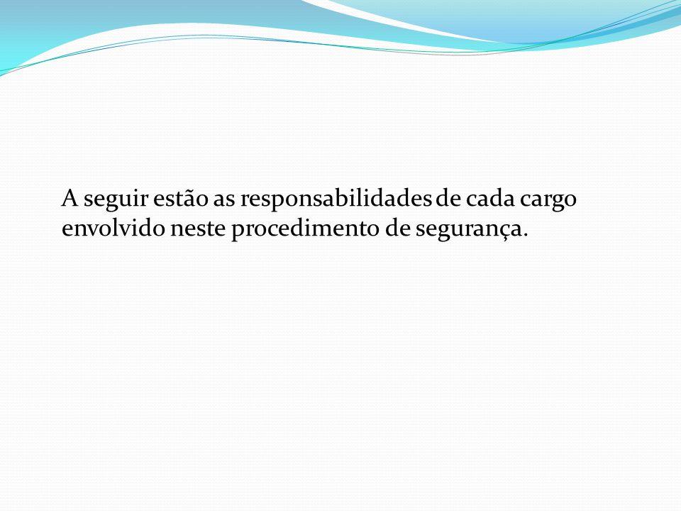 A seguir estão as responsabilidades de cada cargo envolvido neste procedimento de segurança.