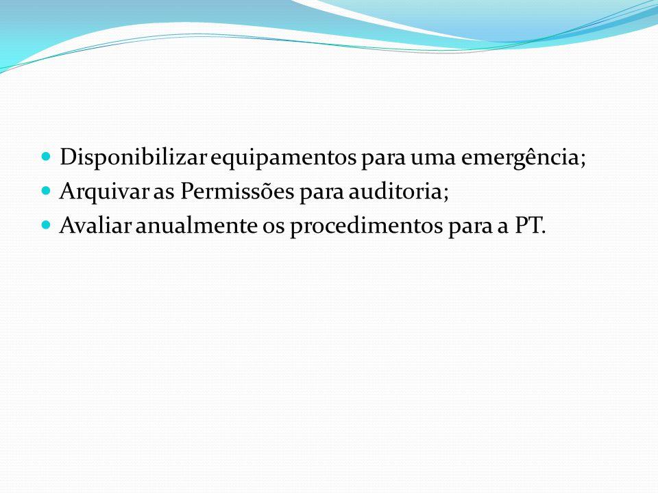 Disponibilizar equipamentos para uma emergência; Arquivar as Permissões para auditoria; Avaliar anualmente os procedimentos para a PT.