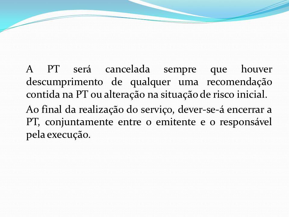 A PT será cancelada sempre que houver descumprimento de qualquer uma recomendação contida na PT ou alteração na situação de risco inicial. Ao final da