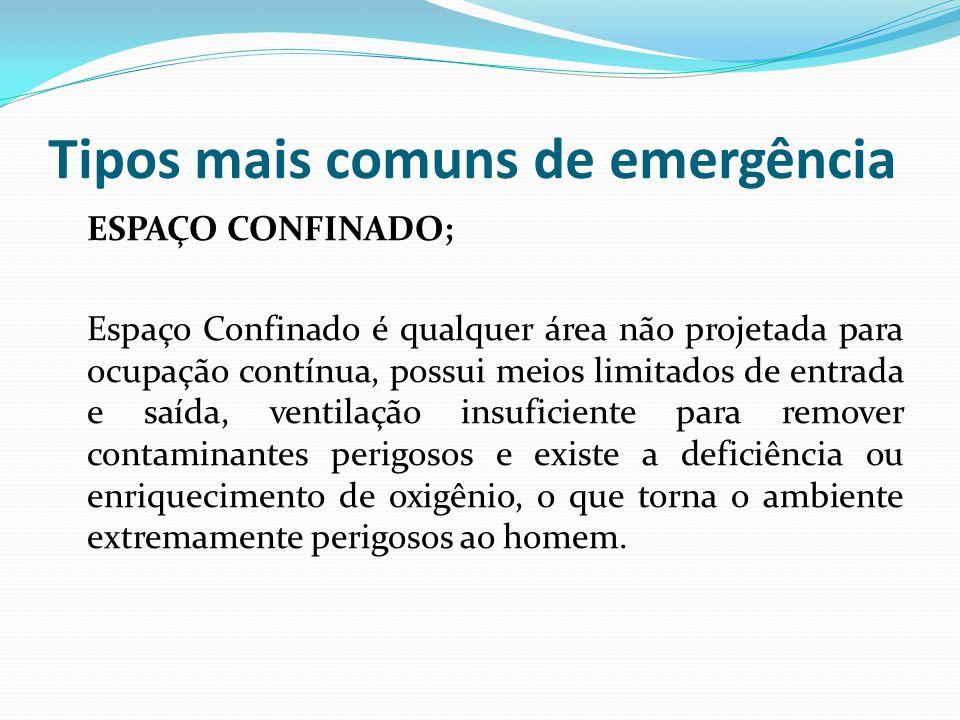 Tipos mais comuns de emergência ESPAÇO CONFINADO; Espaço Confinado é qualquer área não projetada para ocupação contínua, possui meios limitados de ent