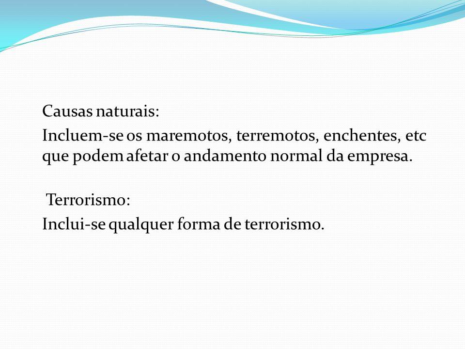 Causas naturais: Incluem-se os maremotos, terremotos, enchentes, etc que podem afetar o andamento normal da empresa. Terrorismo: Inclui-se qualquer fo