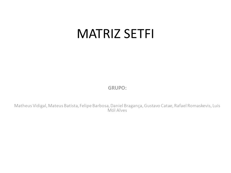 MATRIZ SETFI GRUPO: Matheus Vidigal, Mateus Batista, Felipe Barbosa, Daniel Bragança, Gustavo Catae, Rafael Romaskevis, Luís Mól Alves