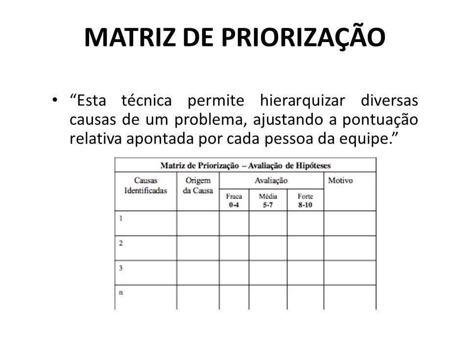 """MATRIZ DE PRIORIZAÇÃO """"Esta técnica permite hierarquizar diversas causas de um problema, ajustando a pontuação relativa apontada por cada pessoa da"""