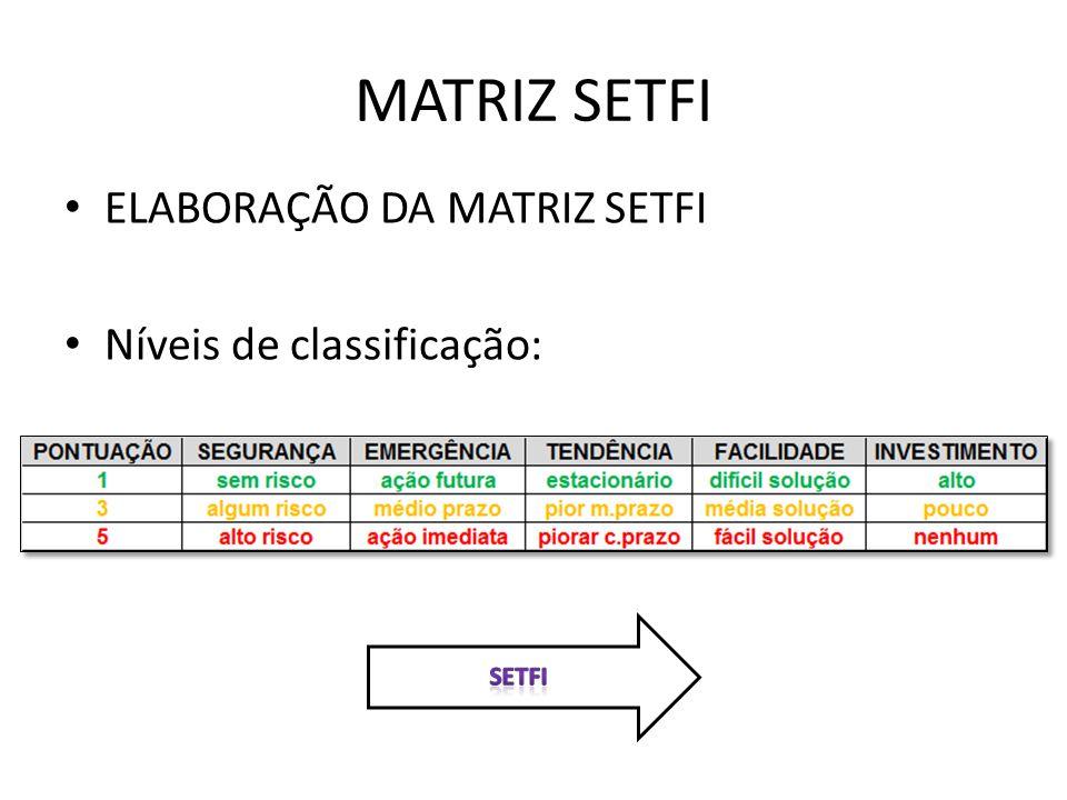 MATRIZ SETFI ELABORAÇÃO DA MATRIZ SETFI Níveis de classificação: