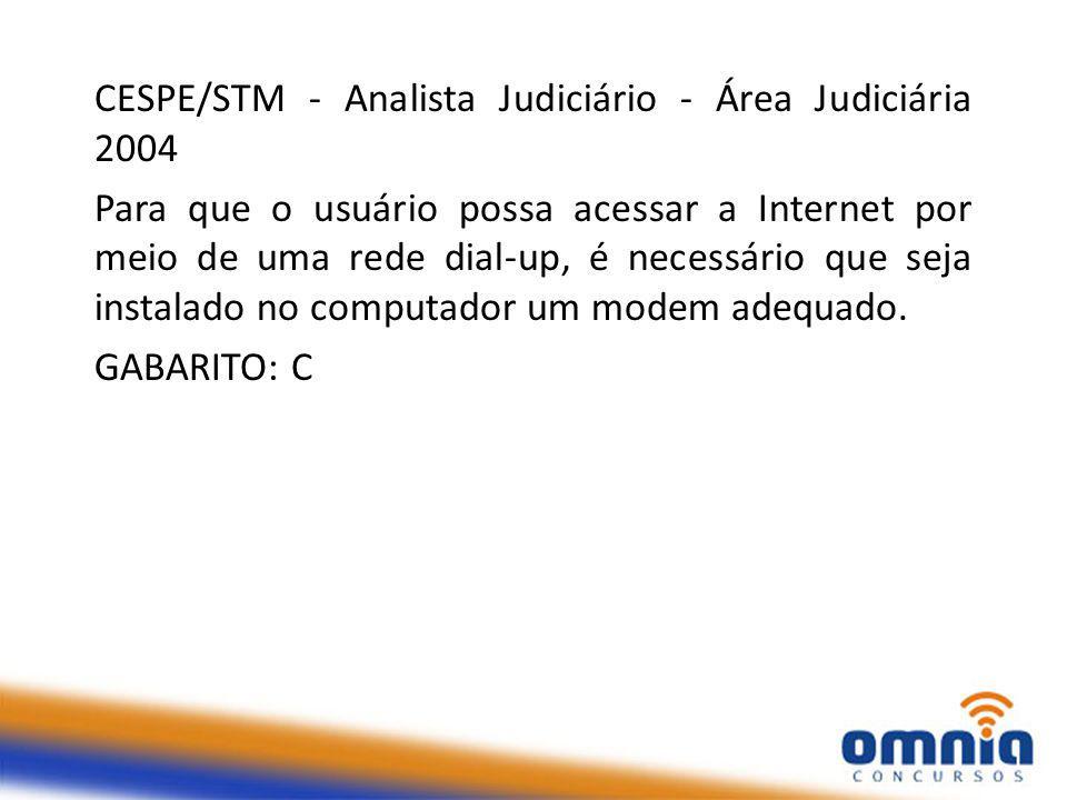 CESPE/STM - Analista Judiciário - Área Judiciária 2004 Para que o usuário possa acessar a Internet por meio de uma rede dial-up, é necessário que seja instalado no computador um modem adequado.