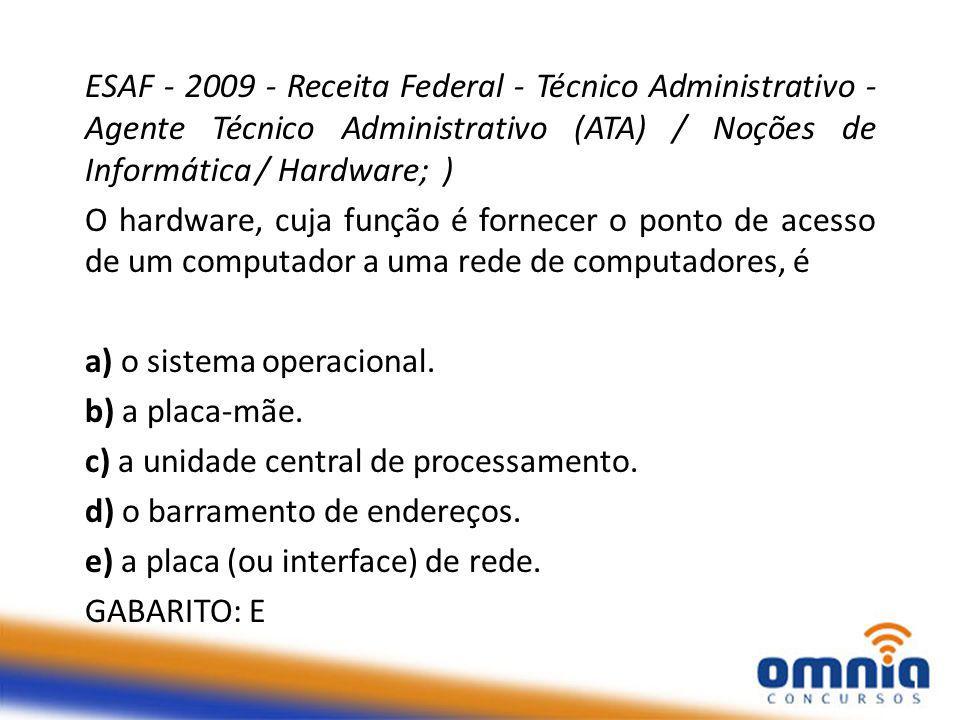 ESAF - 2009 - Receita Federal - Técnico Administrativo - Agente Técnico Administrativo (ATA) / Noções de Informática / Hardware; ) O hardware, cuja função é fornecer o ponto de acesso de um computador a uma rede de computadores, é a) o sistema operacional.
