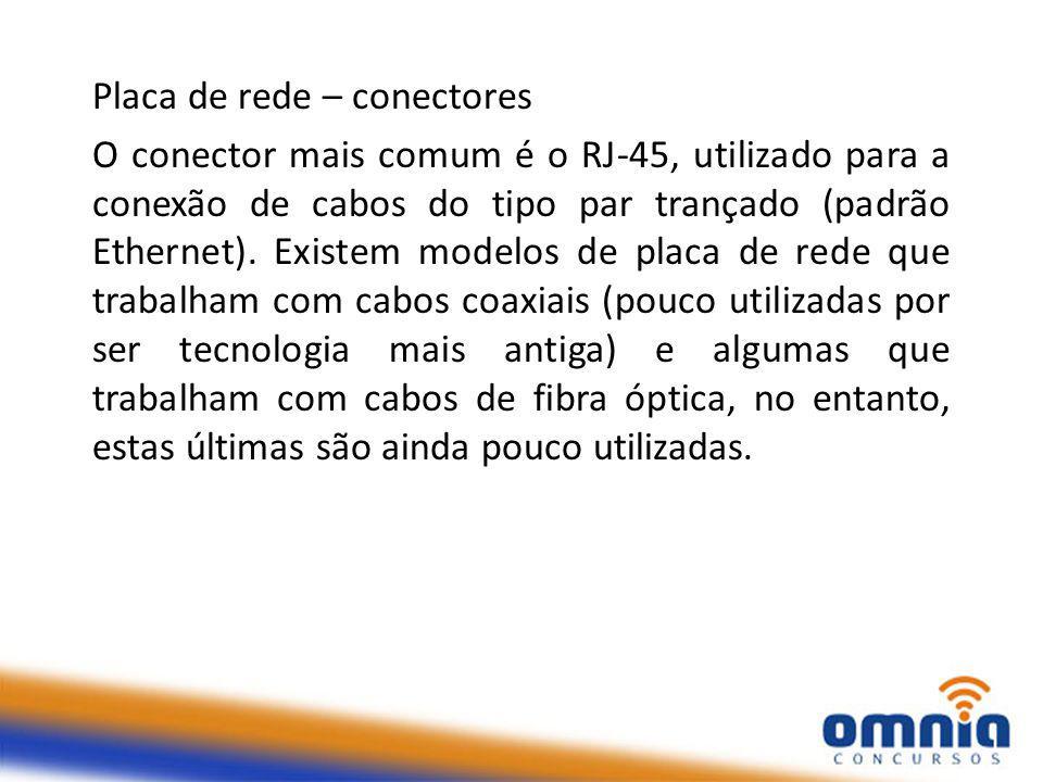 Placa de rede – conectores O conector mais comum é o RJ-45, utilizado para a conexão de cabos do tipo par trançado (padrão Ethernet).