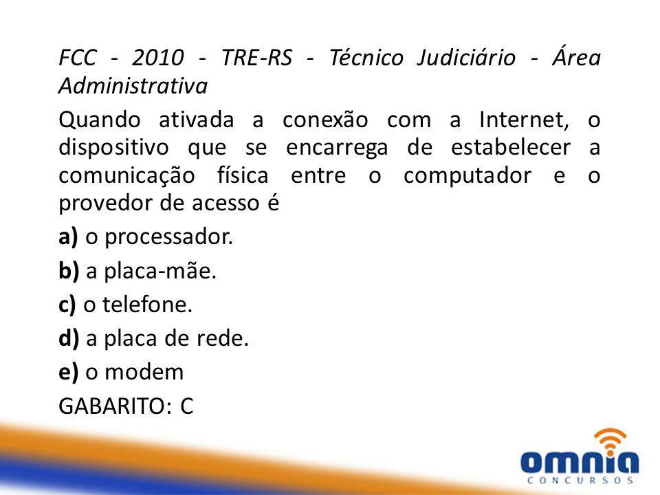 FCC - 2010 - TRE-RS - Técnico Judiciário - Área Administrativa Quando ativada a conexão com a Internet, o dispositivo que se encarrega de estabelecer a comunicação física entre o computador e o provedor de acesso é a) o processador.