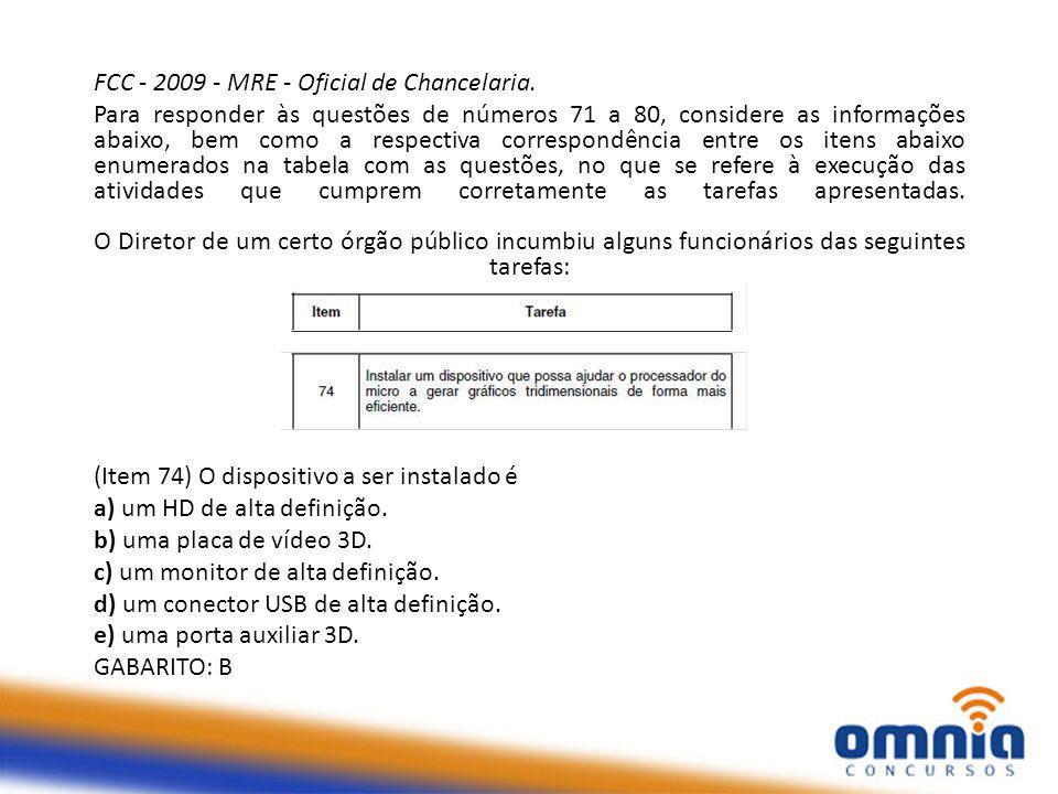 FCC - 2009 - MRE - Oficial de Chancelaria.