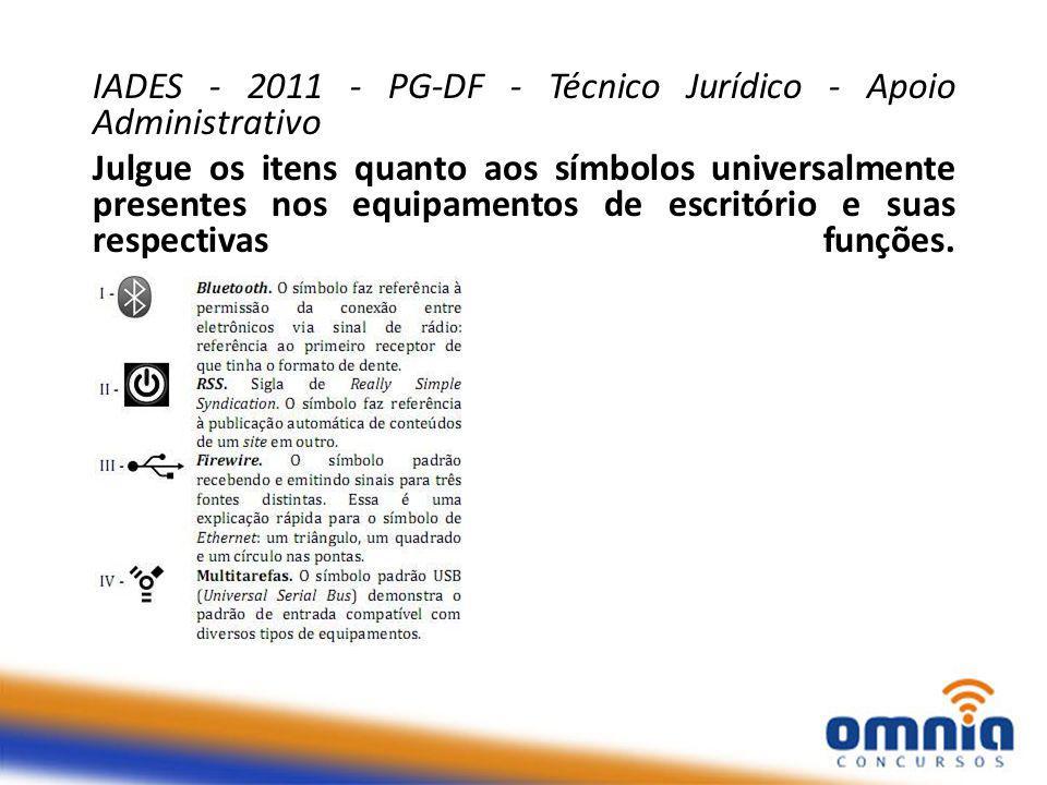 IADES - 2011 - PG-DF - Técnico Jurídico - Apoio Administrativo Julgue os itens quanto aos símbolos universalmente presentes nos equipamentos de escritório e suas respectivas funções.