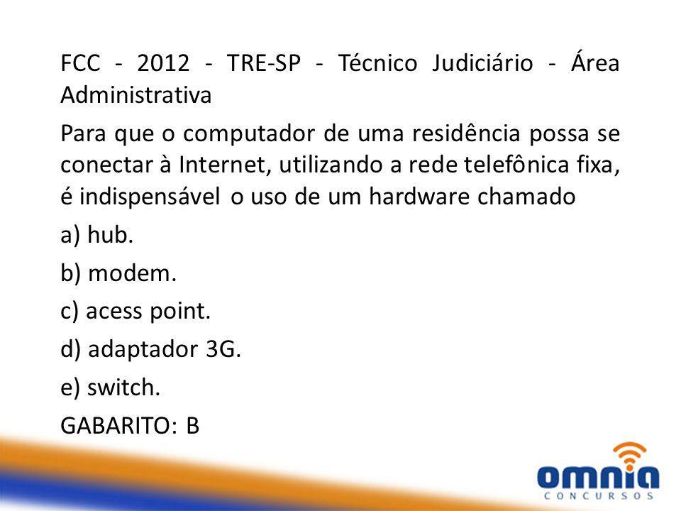 FCC - 2012 - TRE-SP - Técnico Judiciário - Área Administrativa Para que o computador de uma residência possa se conectar à Internet, utilizando a rede telefônica fixa, é indispensável o uso de um hardware chamado a) hub.