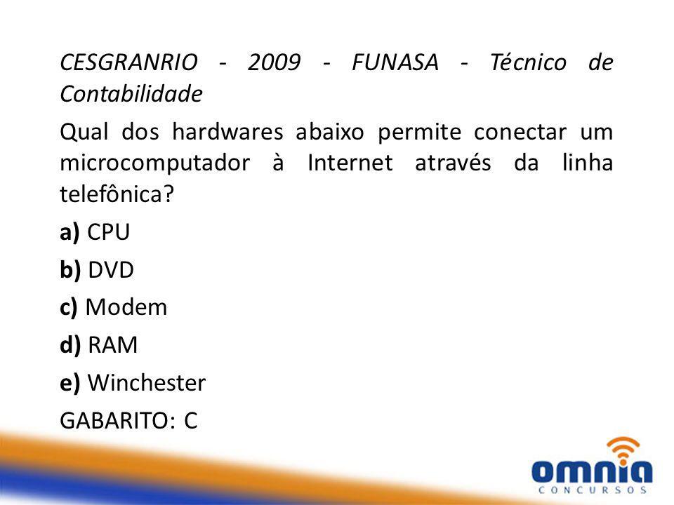 CESGRANRIO - 2009 - FUNASA - Técnico de Contabilidade Qual dos hardwares abaixo permite conectar um microcomputador à Internet através da linha telefônica.