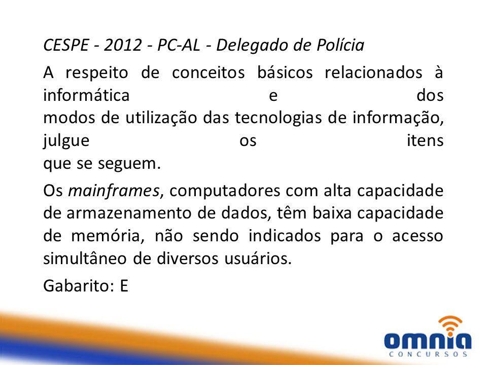 CESPE - 2012 - PC-AL - Delegado de Polícia A respeito de conceitos básicos relacionados à informática e dos modos de utilização das tecnologias de informação, julgue os itens que se seguem.