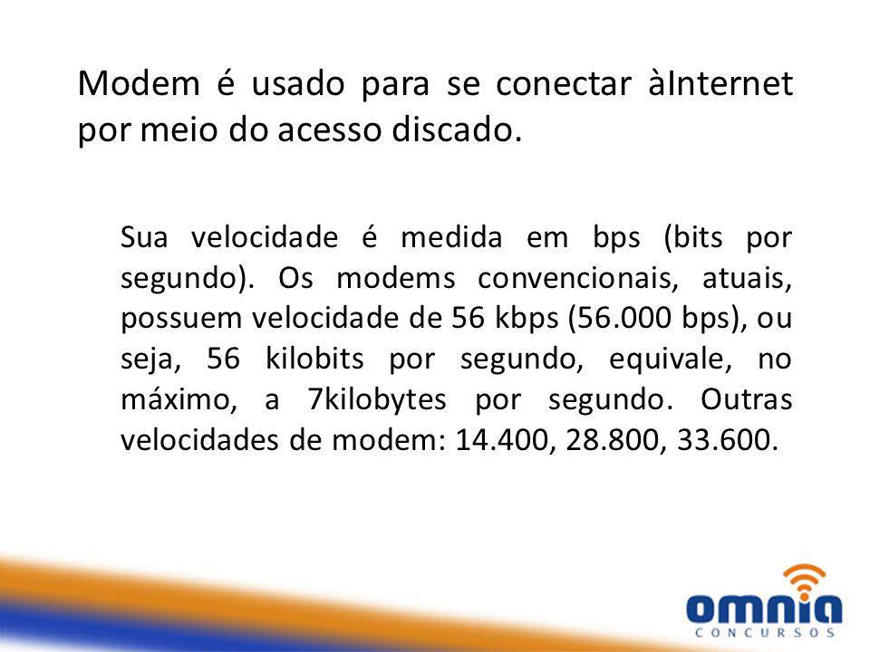 Modem é usado para se conectar àInternet por meio do acesso discado.