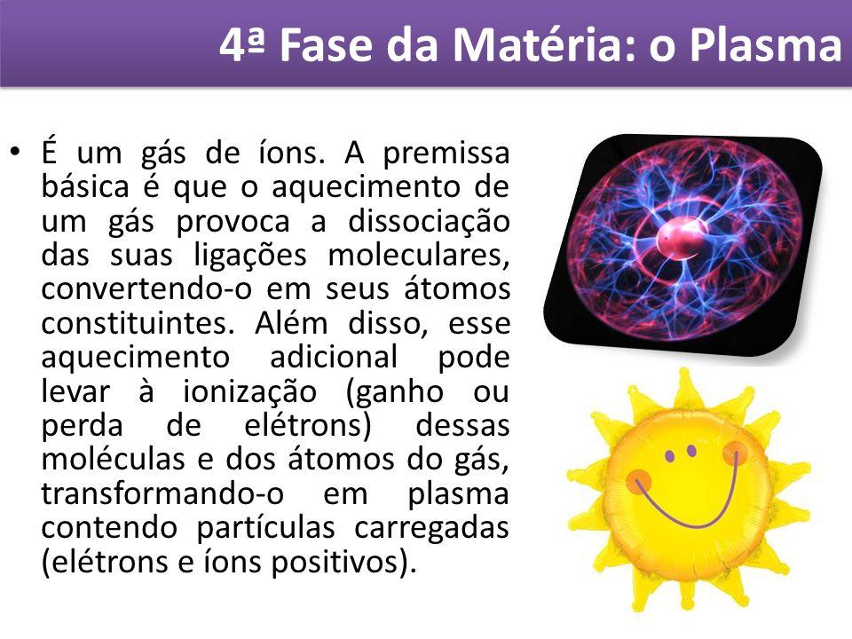 4ª Fase da Matéria: o Plasma É um gás de íons. A premissa básica é que o aquecimento de um gás provoca a dissociação das suas ligações moleculares, co