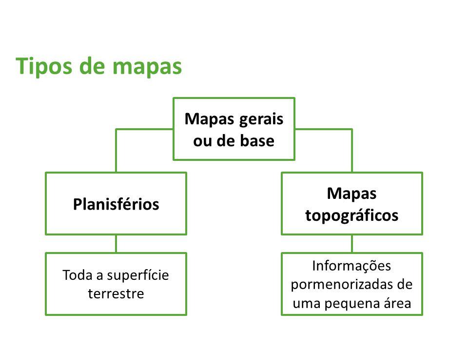 Tipos de mapas Mapas gerais ou de base Planisférios Mapas topográficos Toda a superfície terrestre Informações pormenorizadas de uma pequena área