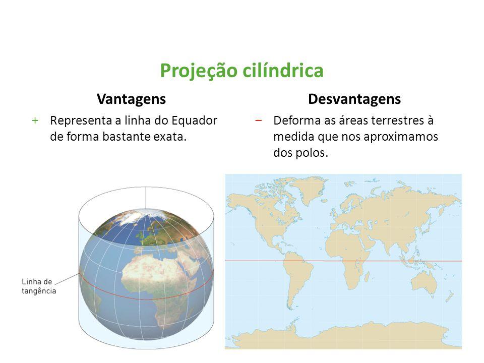 Vantagens +Representa a linha do Equador de forma bastante exata. Desvantagens ‒Deforma as áreas terrestres à medida que nos aproximamos dos polos. Pr