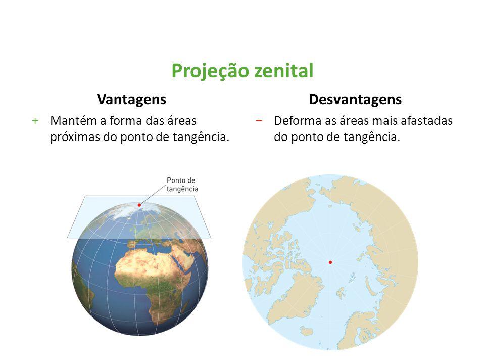 Vantagens +Mantém a forma das áreas próximas do ponto de tangência. Desvantagens ‒Deforma as áreas mais afastadas do ponto de tangência. Projeção zeni