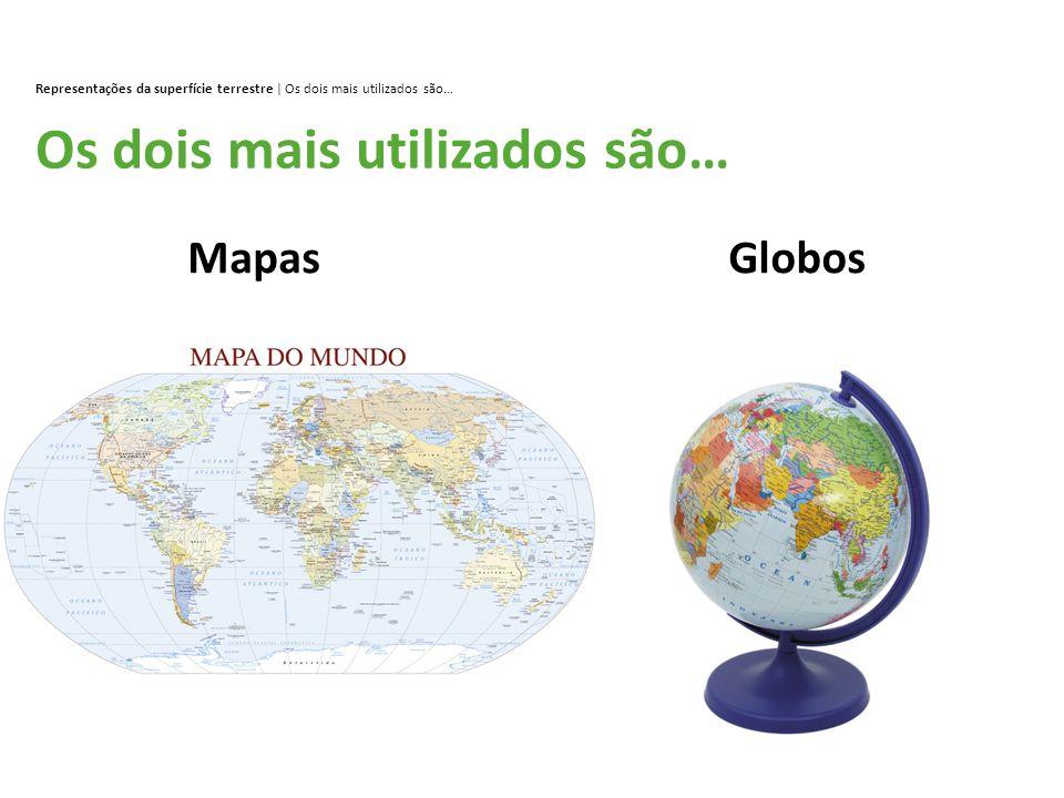 Representações da superfície terrestre | Os dois mais utilizados são… Os dois mais utilizados são… MapasGlobos