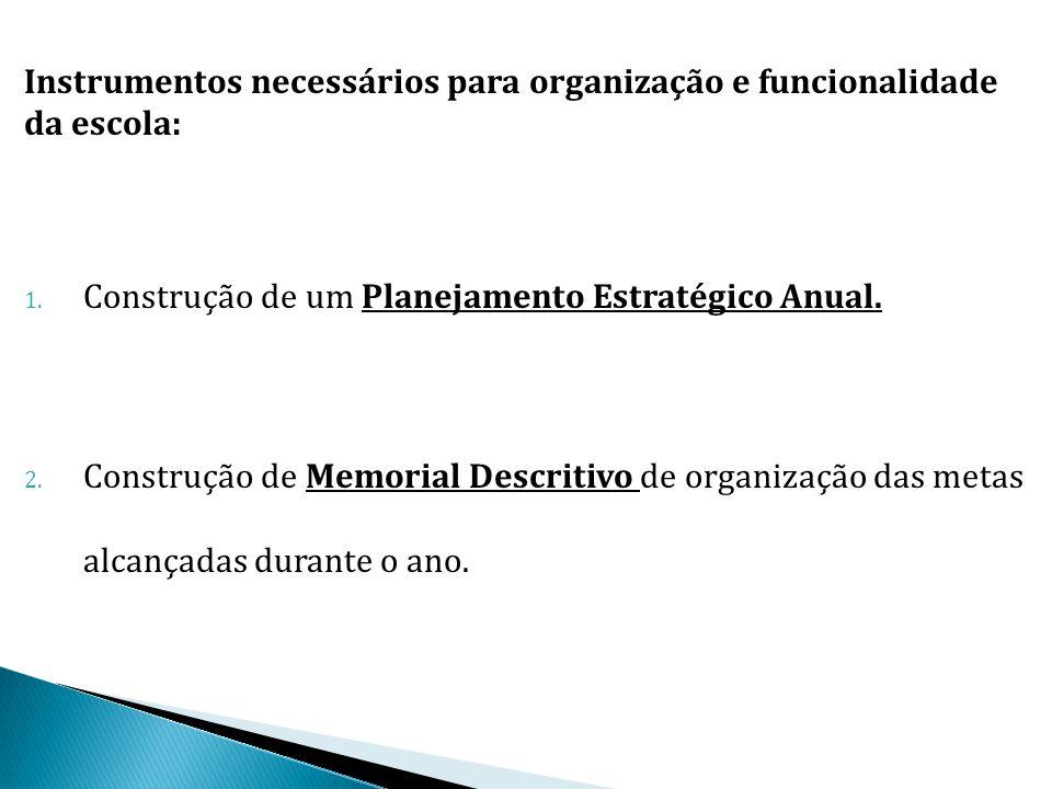 Instrumentos necessários para organização e funcionalidade da escola: 1. Construção de um Planejamento Estratégico Anual. 2. Construção de Memorial De