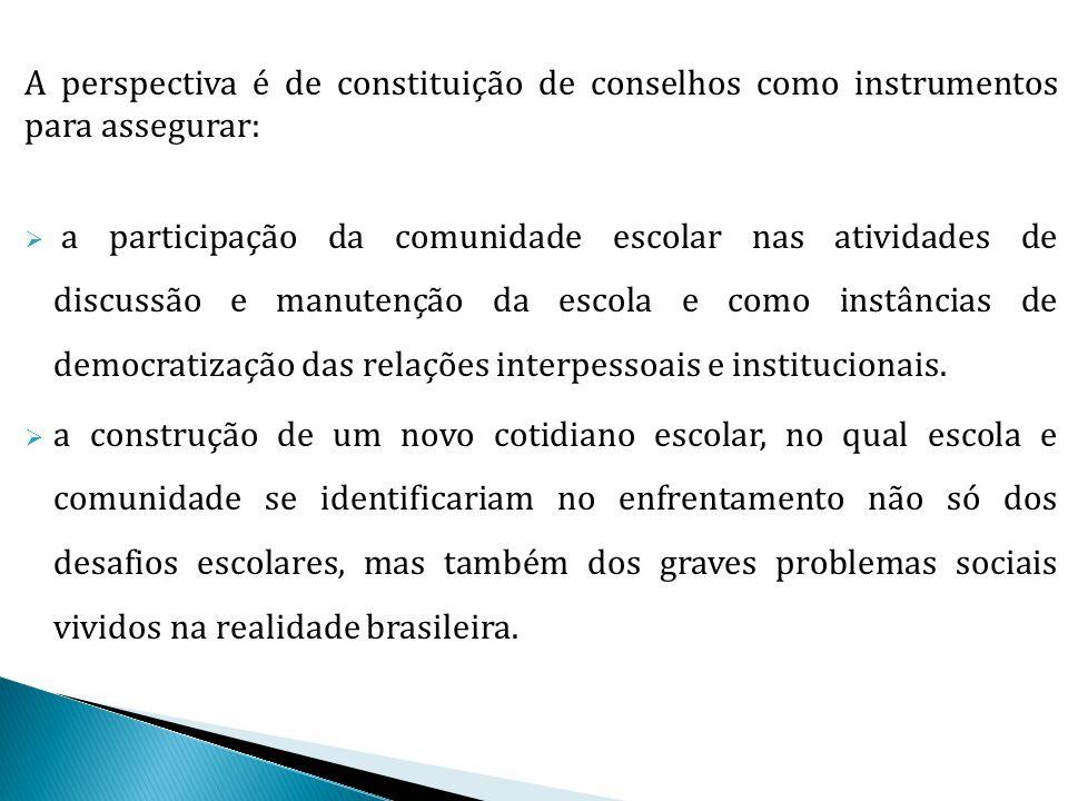 A perspectiva é de constituição de conselhos como instrumentos para assegurar:  a participação da comunidade escolar nas atividades de discussão e ma
