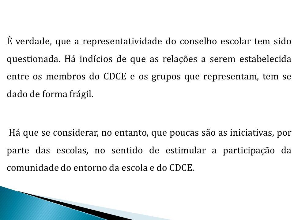 O CDCE se constitui, como estabelecido na própria legislação que o rege, como um assessoramento essencial na realização dos trabalhos da escola, nas dimensões pedagógica, administrativa, financeira e cultural, e que é preciso que tenha, para isto, diálogo com os grupos que representa..