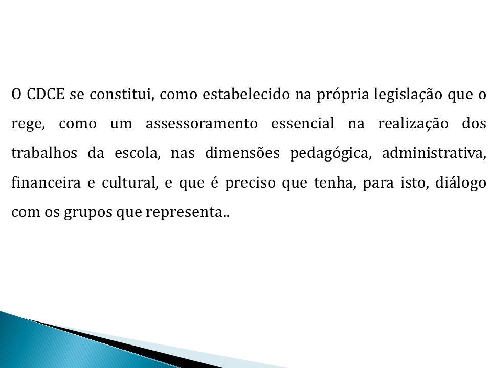 O CDCE se constitui, como estabelecido na própria legislação que o rege, como um assessoramento essencial na realização dos trabalhos da escola, nas d