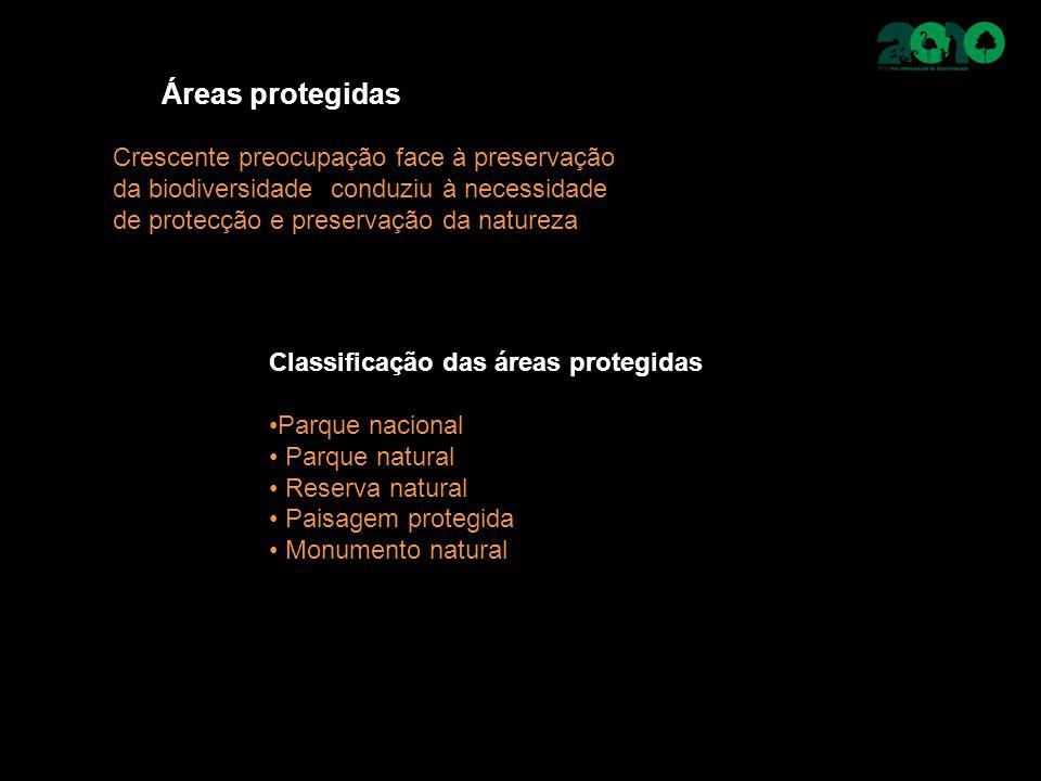Áreas protegidas Crescente preocupação face à preservação da biodiversidade conduziu à necessidade de protecção e preservação da natureza Classificação das áreas protegidas Parque nacional Parque natural Reserva natural Paisagem protegida Monumento natural