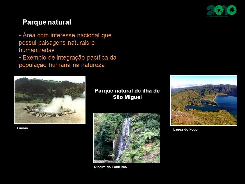 Parque natural Área com interesse nacional que possui paisagens naturais e humanizadas Exemplo de integração pacífica da população humana na natureza Parque natural de ilha de São Miguel Furnas Ribeira do Caldeirão Lagoa do Fogo
