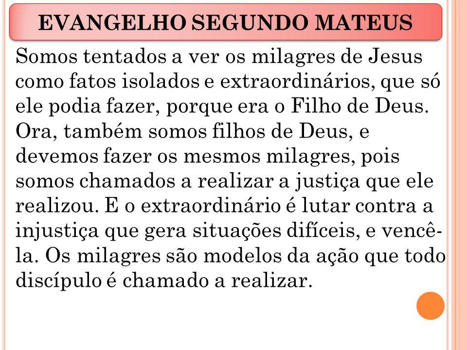 Somos tentados a ver os milagres de Jesus como fatos isolados e extraordinários, que só ele podia fazer, porque era o Filho de Deus.