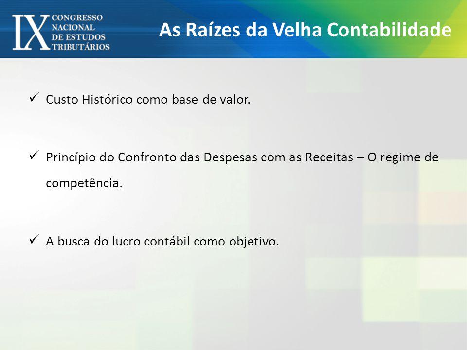 As Raízes da Velha Contabilidade Custo Histórico como base de valor.