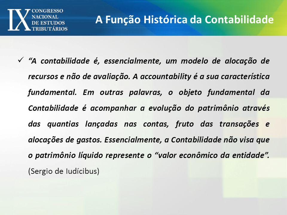 A Função Histórica da Contabilidade A contabilidade é, essencialmente, um modelo de alocação de recursos e não de avaliação.