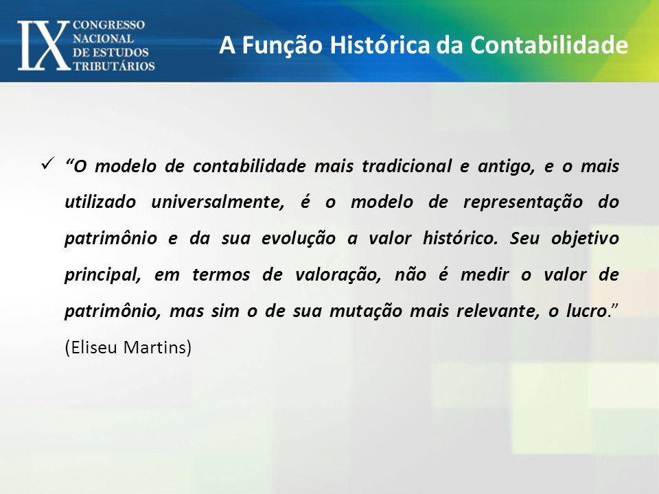 A Função Histórica da Contabilidade O modelo de contabilidade mais tradicional e antigo, e o mais utilizado universalmente, é o modelo de representação do patrimônio e da sua evolução a valor histórico.