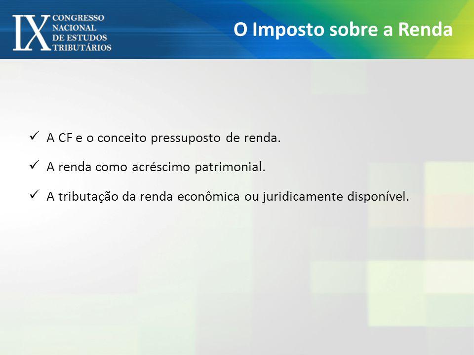 O Imposto sobre a Renda A CF e o conceito pressuposto de renda.