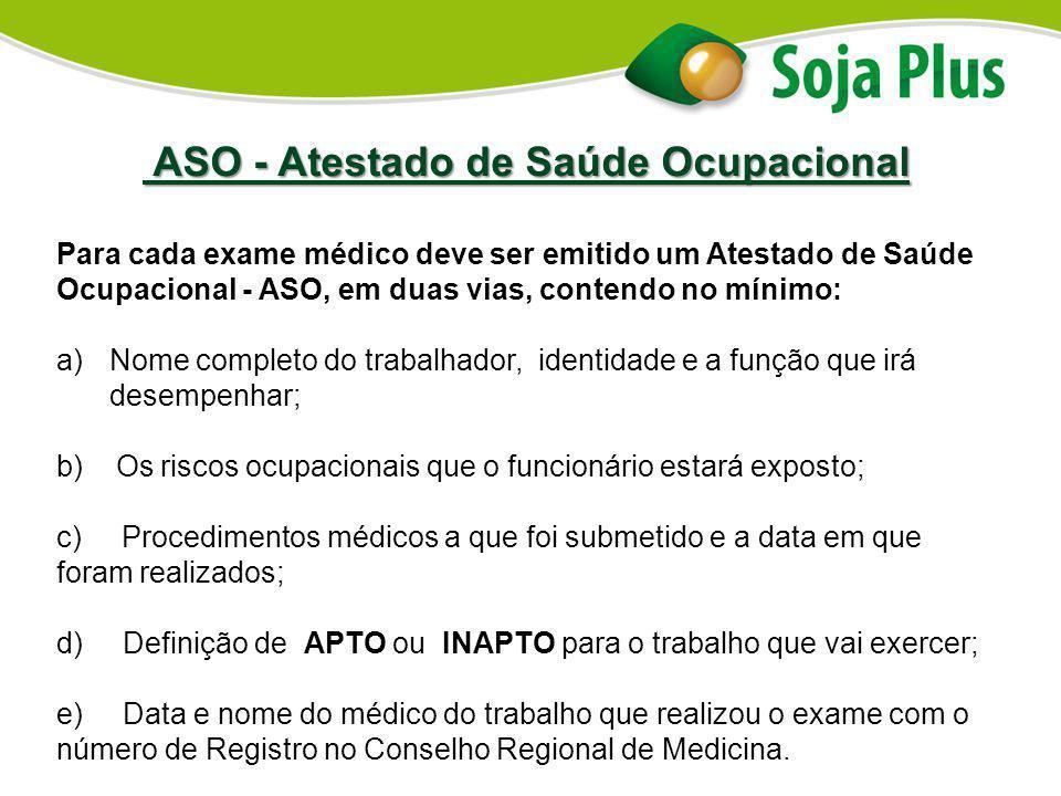 ASO - Atestado de Saúde Ocupacional ASO - Atestado de Saúde Ocupacional Para cada exame médico deve ser emitido um Atestado de Saúde Ocupacional - ASO