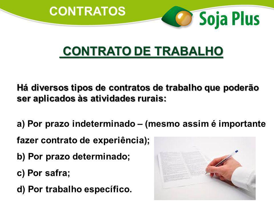 CONTRATO DE TRABALHO CONTRATO DE TRABALHO Há diversos tipos de contratos de trabalho que poderão ser aplicados às atividades rurais: a) Por prazo inde