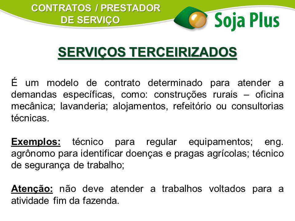 SERVIÇOS TERCEIRIZADOS É um modelo de contrato determinado para atender a demandas específicas, como: construções rurais – oficina mecânica; lavanderi