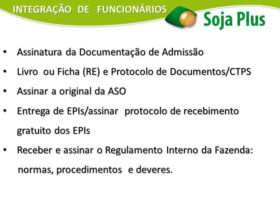Assinatura da Documentação de Admissão Assinatura da Documentação de Admissão Livro ou Ficha (RE) e Protocolo de Documentos/CTPS Livro ou Ficha (RE) e