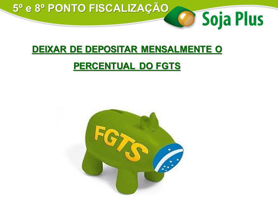 DEIXAR DE DEPOSITAR MENSALMENTE O PERCENTUAL DO FGTS 5º e 8º PONTO FISCALIZAÇÃO