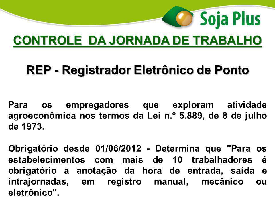 CONTROLE DA JORNADA DE TRABALHO REP - Registrador Eletrônico de Ponto Para os empregadores que exploram atividade agroeconômica nos termos da Lei n.º