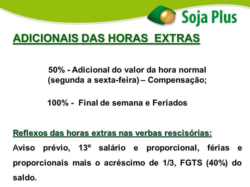 ADICIONAIS DAS HORAS EXTRAS 50% - Adicional do valor da hora normal (segunda a sexta-feira) – Compensação; 100% - Final de semana e Feriados Reflexos