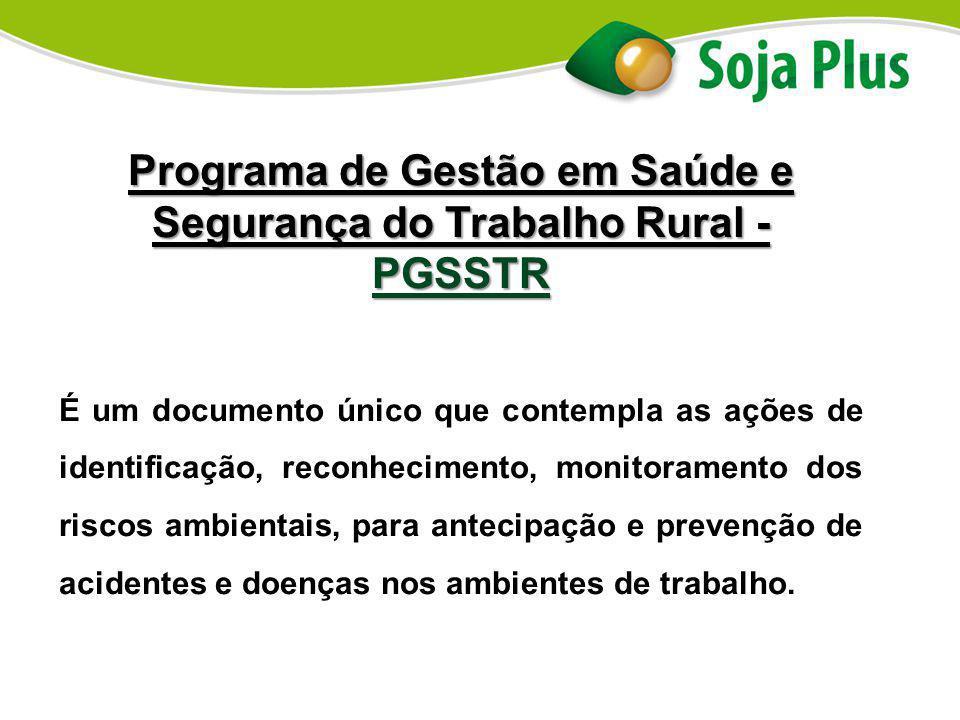 Programa de Gestão em Saúde e Segurança do Trabalho Rural - PGSSTR É um documento único que contempla as ações de identificação, reconhecimento, monit