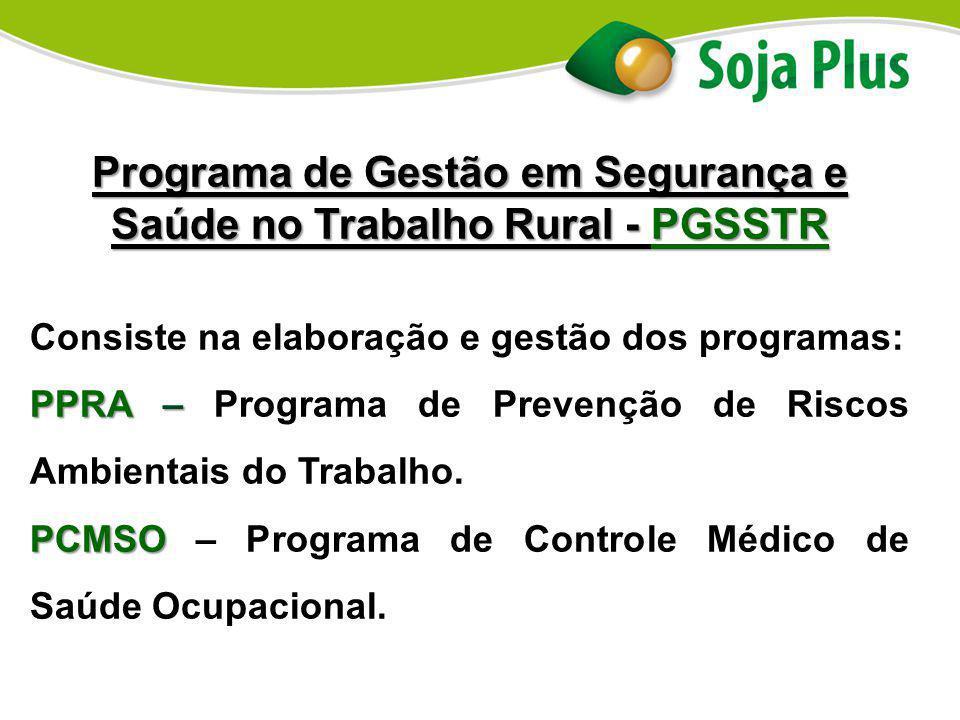 Programa de Gestão em Segurança e Saúde no Trabalho Rural - PGSSTR Consiste na elaboração e gestão dos programas: PPRA – PPRA – Programa de Prevenção