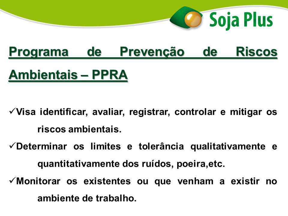 Programa de Prevenção de Riscos Ambientais – PPRA Visa identificar, avaliar, registrar, controlar e mitigar os riscos ambientais. Determinar os limite