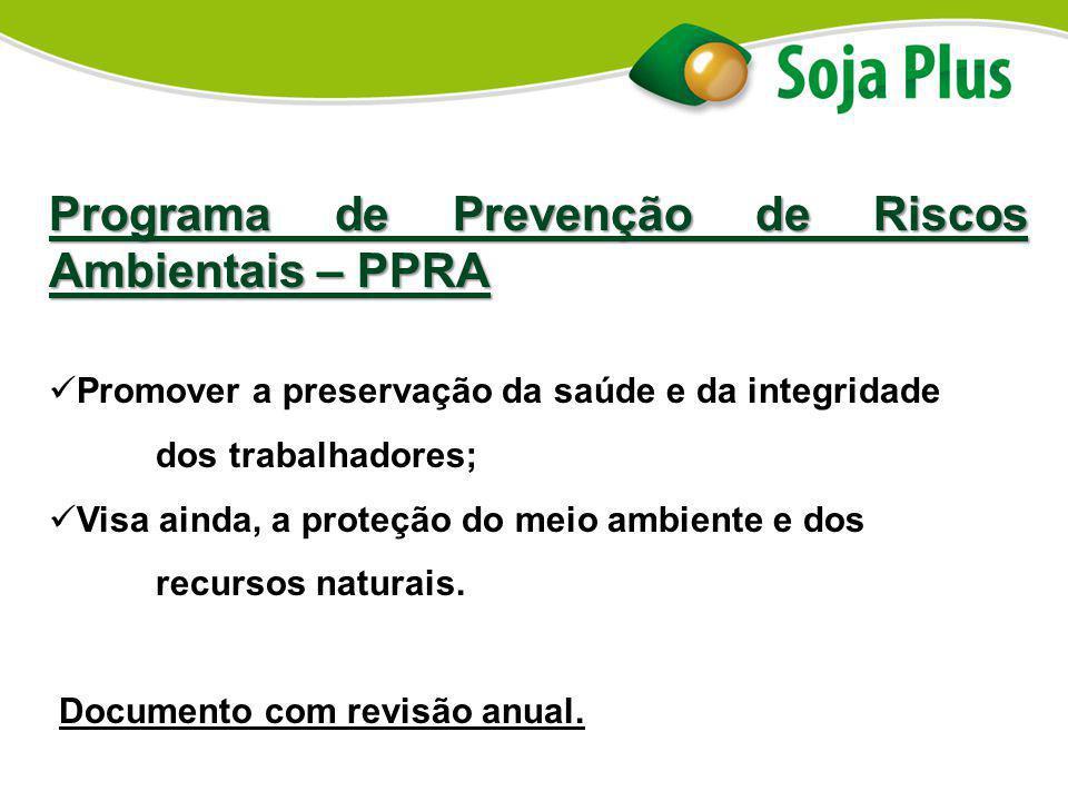 Programa de Prevenção de Riscos Ambientais – PPRA Promover a preservação da saúde e da integridade dos trabalhadores; Visa ainda, a proteção do meio a